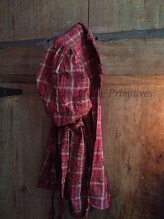 Handcrafted Primitive Prairie Bonnet ~ Christmas Plaid Homespun ~ Available for Sale on our website www.finecountrylivingprimitives.com