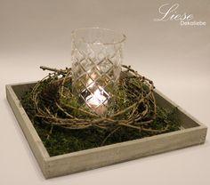 Kerzen & Beleuchtung - Kerzenlicht im Lärchenkranz - ein Designerstück von Liese-Dekoliebe bei DaWanda