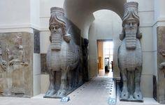 Lamassu from the citadel of Sargon II, Dur Sharrukin, Winged human-headed bull (lamassu or shedu), Neo-Assyrian Period, reign of Sargon II (721-705 B.C.E.) Khorsabad, ancient Dur Sharrukin, Assyria, Iraq, gypseous alabaster, 4.20 x 4.36 x 0.97 m, excavated by P.-E. Botta 1843-44 (Musée du Louvre)