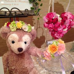 ハートのバックブーケ、花かんむり、リストレット