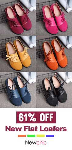 bbb45bd50a9930  61% off Large Size Women Casual Soft Lightweight Splicing Leather Lace Up  Flats