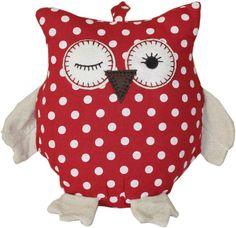 WINKING RED OWL DOORSTOP Door Stop Fabric Cream Chic Shabby Vintage Kitchen NEW | eBay
