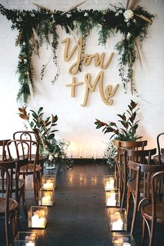 Laser-cut wooden You + Me letters for an industrial-chic wedding ceremony. Here … Laser-cut wooden You + Me letters for an industrial-chic wedding ceremony. Here are 6 Ideas for your Industrial Wedding Arch from Here Comes The Guide! Indoor Wedding Ceremonies, Wedding Ceremony Decorations, Wedding Centerpieces, Wedding Greenery, Altar Decorations, Backdrop Wedding, Wedding Venues, Indoor Ceremony, Wedding Aisles