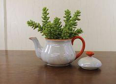 Small White Lustre Teapot w/Orange Handle & Trim (E376)
