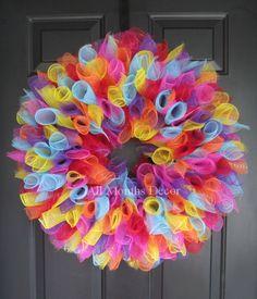 Party Birthday Deco Mesh Wreath Large