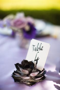 painted succulent table numbers // photo by Ashley Biess, event design by La Belle Fleur Events http://ruffledblog.com/parisian-gothic-wedding-inspiration