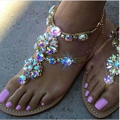 Haoricu Clearance Bohemia Beaded Womens Summer Sandals Flat Crystal Shining  Rhinestones Chain Slipper T-strap Comfortable Shoes Larger Size 36~47  (US 10.5 3fcf42456085