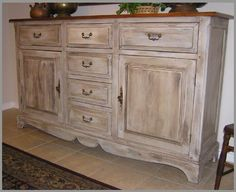Buffet Finished And Distressed Milk Paint Le Photo White Bedroom Furniture Painted