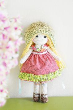 Handmade Crochet Dolls by LinaMarieDolls on Etsy  // crochet doll, rag doll, plush doll, soft doll, ooak, unique,, original doll, keepsake, muñeca tejida, blonde doll, bonnet, raspberry