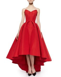 Strapless Cat-Ear-Bodice High-Low Gown, Grenadine by Zac Posen at Neiman Marcus. Can't breathe. So. Pretty.