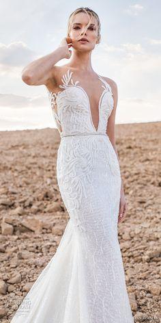 lian rokman 2017 bridal sleeveless deep plunging sweetheart neckline full embellishment elegant trumpet wedding dress lace back chapel train (zircon) zv -- Lian Rokman 2017 Wedding Dresses