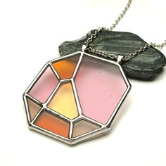 Pendant set pink and midnight stained glass earrings entirely handmade.