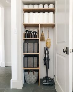 the sleek new Jet Stick Vacuum is a dream in my new cleaning closet. Its sleek design and unmatched performance fit with our lifestyle. Front Closet, Hallway Closet, Closet Shelves, Closet Storage, Wardrobe Storage, Hall Closet Organization, Home Organisation, Vacuum Storage, Broom Storage