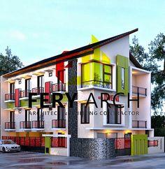 Desain rumah kos Rooms For Rent, Hostel, Home Interior Design, Restaurants, Arch, Floor Plans, Layout, Exterior, House Design