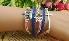 Chic Helm and Cross and Crown Embellished Knitted Charm Bracelet For Women Color: AS THE PICTURE Category: Jewelry > Bracelets   Item Type: Charm Bracelet  Gender: For Women  Chain Type: Link Chain  Style: Trendy  Shape/Pattern: Cross  #crossbraceletcharms #crossbracelet #charmsbracelet #womenbracelet #bridgat.com