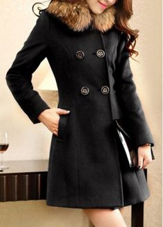 Knockout Faux Fur Collar Black Shirred Waist Coats for Woman with cheap wholesale price, buy Knockout Faux Fur Collar Black Shirred Waist Coats for Woman at wholesaleitonline.com !