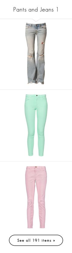 """""""Pants and Jeans 1"""" by jennziegirl ❤ liked on Polyvore featuring jeans, pants, bottoms, calças, tall jeans, destroyed jeans, distressed flare jeans, tall flare jeans, destruction jeans and mint mojito"""