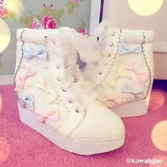 White/Pink Winter Candy Bowknot Lace Elevator shoes High-top Sneakers Source by sailorsarajayne clothing Pastel Goth Fashion, Kawaii Fashion, Lolita Fashion, Cute Fashion, Fashion Shoes, Fashion Outfits, Pretty Shoes, Cute Shoes, Me Too Shoes