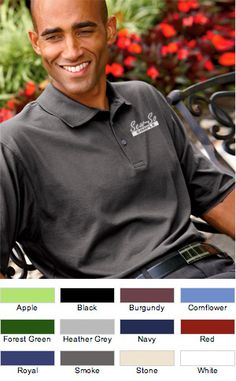 #ultraclub #knit #mens #polos #EmbroideredPolo $19.99  Features: 100% combed cotton jersey; luxurious feel; no-curl collar; contrast neck tape; 3-button placket; flat-knit collar; hemmed sleeves; tagless; heather grey is 90% cotton and 10% viscose; 5.3-ounce.  http://ezcorporateclothing.com/custom/65-Mens-Polos/769-UltraClub-Men%27s-Egyptian-Breeze-Jersey-Knit-Polo/