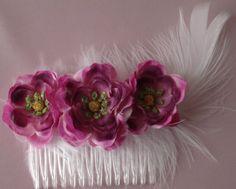Bridal Hair Wedding Hair CombPurple Fuchsia Poppy  by lovelygifts, $22.00