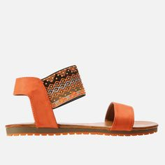 You're looking at a must-have sandal silhouette for the spring/summer season, to wear with your turned-up jeans or drop-waist dresses. This versatile sandal features an elasticated band with a tribal design across the ankle which gives it bohemian style. Drop Waist, Flip Flop Sandals, Bohemian Style, Spring Summer, Silhouette, Ankle, Band, Orange, Clothing