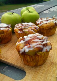 Apple fritter muffins. I made these the other day and they turned out divine! I cut out the milk (as I didnt have any on hand) but they turned out awesome anyway