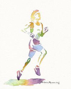 Runner Sports Athlete Art Print Watercolor by BarbaraRosenzweig, $37.00