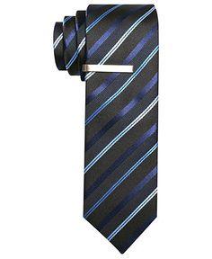 Alfani RED Tie, Berk Stripe Skinny Tie with Tie Bar - Mens Ties - Macy's