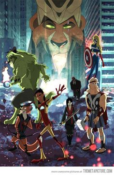 Geek Discover The Avengers as Disney Characters. Or Disney characters as the Avengers I suppose. Disney Marvel, Disney Pixar, Disney E Dreamworks, Heros Disney, Disney Art, Disney Characters, Goth Disney, Disney Villains, The Avengers