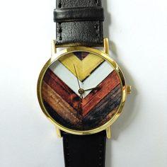 Wood Chevron Watch, Vintage Style Leather Watch, Women Watches, Unisex Watch, Boyfriend Watch, Black, on Etsy, $12.00