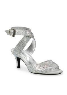 J Rene233 Silver SONCINO Rhinestone Satin Mid Heel CrissCross Ankle Strap Sandals