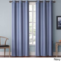 Vcny Olsen Stripe Blackout Grommet 84-inch Curtain Panel Pair (Navy), Blue, Size 76 x 84