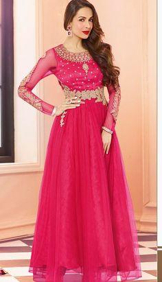 Beautiful Latest Rose Pink Nett Anarkali Suit, Dress