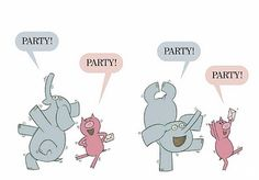 """Elephant and Piggie, """"I am invited to a party"""" by Mo Willems Piggie And Elephant, Elephant Party, Elephant Birthday, Piggy Cake, Mo Willems, Library Programs, Programming For Kids, Letter Recognition, School Parties"""