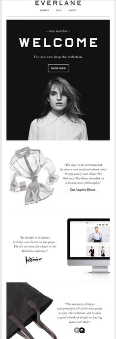Everlane welcome email. Subject line: Welcome To Everlane