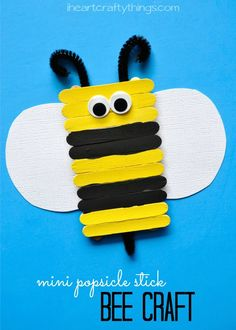 Simple and Cute Popsicle Stick Bee Kids Craft from iheartcraftythings.com