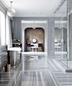 This is such a luxurious and elegant bathroom. Image via Brandon Barré.