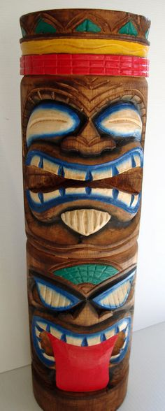Tiki Totem Pole Hand Carved Hawaiian Polynesian Tropical Decor Parrothead