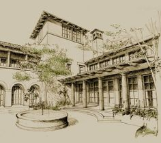 Mediterranean courtyard pen and pencil rendering. this architectural rendering…