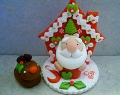 Mini Santa y Rudolph - arcilla polimérica - Navidad - figuras de vacaciones