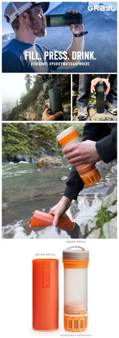 Purify Water. Anywhere! The #GRAYL Ultralight Water Purifier's ONE PRESS design makes clean, purified drinking water in only 15 seconds from virtually any freshwater source in the world. #waterpurifier #survival #affiliate