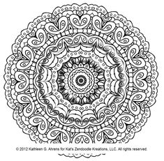 """Instant PDF Download Coloring Page Hand Drawn Zentangle Inspired Psychedelic """"A Smile"""" Kaleidoscope Mandala Abstract Zendoodle Doodle By Kat on Etsy, $1.65"""