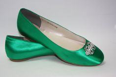 Wedding Shoes - Emerald Green - Flat Wedding Shoe - Ballet Slipper - Green Wedding Shoes - Bridal Shoe - Flats - Choose From Over 100 Colors...
