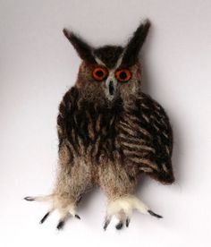 Needle Felted Eagle Owl Brooch / Pin badge by MischiefsManifold, £18.00