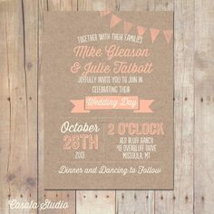 Rustic Kraft Wedding Invitation Mint Peach Bridal door casalastudio