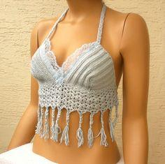 Crochet womens bra hippie halter sexy top by KnitterPrincess, $26.50