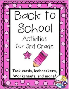 This 36 page set of worksheets, task cards, games, a writing activity, math activities and more will keep your kids busy learning the first week. These activities are great not only for student learning, but to provide you as a teacher, a simple way to get to know the kids, while allowing them to get to know one another, and helping them make the transition to a new classroom. Love this for Back to School! (TpT Resource)