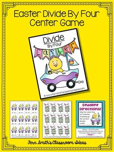 Quick and Easy to Make Division Center Game Divide By Four Concept for Easter #TPT $Paid