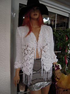 RESERVED jacket handmade crochet  in white cotton by GoldenYarn