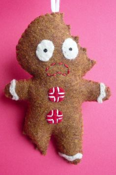 Felt Christmas Ornament - Terrifed Gingerbread Man